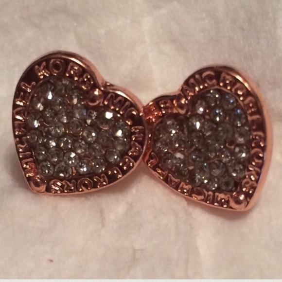 749090e38 Rose Gold Heart Shaped Michael Kors Stud Earrings.  M_5b47be4b03087cc756398170